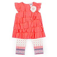 Girls 4-6x Little Lass Sequin Top & Print Capris Set