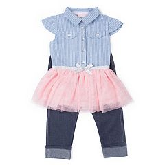 Girls 4-6x Little Lass Tulle Top & Capri Jeggings Set