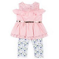 Girls 4-6x Little Lass Cold-Shoulder Top & Floral Capris Set