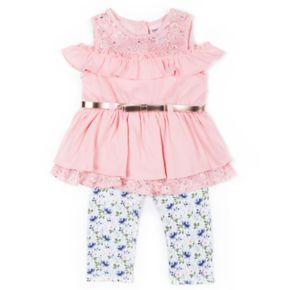Girls 4-6x Little Lass Cold-Shoulder Top & Floral Capris Set