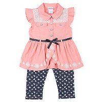 Girls 4-6x Little Lass Embellished Top & Floral Capri Jeggings Set