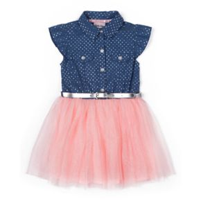Girls 4-6x Little Lass Chambray Tulle Dress