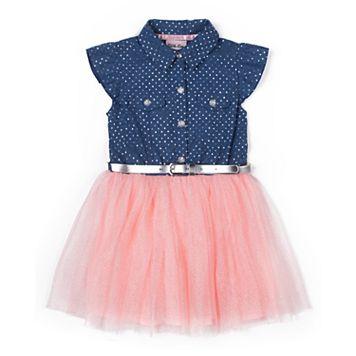 Girls 4-6x Little Lass Chambray Tulle Dress
