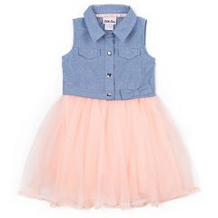 Girls 4-6x Little Lass Chambray Flocked Tulle Dress