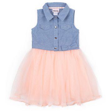 Girls 4-6x Little Lass Chambray Flocked Tulle Dress