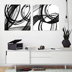 Artissimo Designs Black & White Pop Canvas Wall Art 2-piece Set