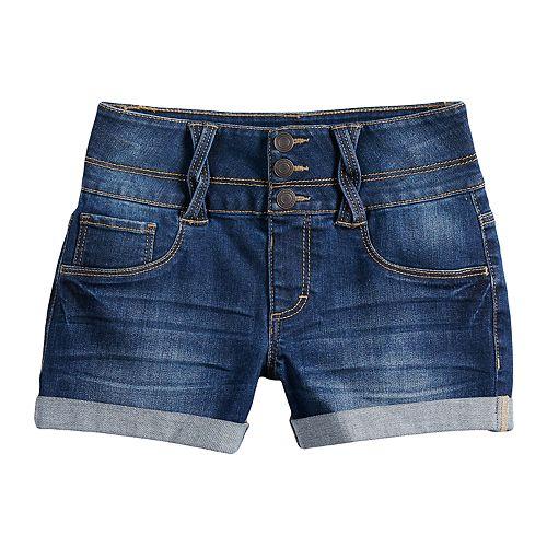 Girls 7-16 & Plus Size SO® Rolled Cuff Braided Belt Loop Shortie Jean Shorts