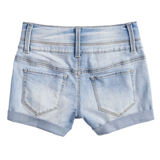 Girls 7-16 & Plus Size SO® Rolled Cuff Braided Belt Loop Shortie Jean Shorts