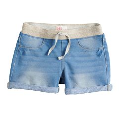 Girls 7-16 & Plus Size SO® Ribbed Waist Faux-Denim Shortie Shorts