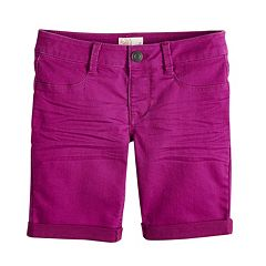 Girls 7-16 & Plus Size SO® Rolled Cuff Denim Bermuda Shorts