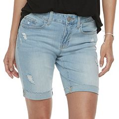 Juniors' SO® Cuffed Midi Bermuda Jean Shorts