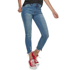 Juniors' Indigo Rein Mid-Rise Frayed Ankle Skinny Jeans