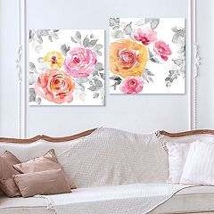 Artissimo Designs Rose Garden Splendor Canvas Wall Art 2 pc Set
