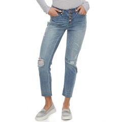 Juniors' Unionbay Presley Ripped Button Fly Ankle Jeans