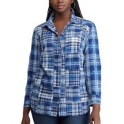 Plus Size Chaps Plaid Button Front Top