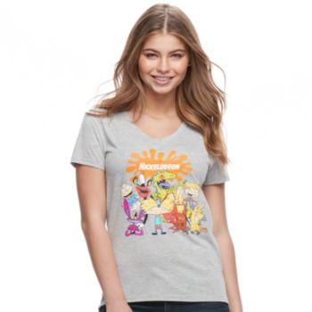Juniors' Nickelodeon Graphic V-Neck Tee