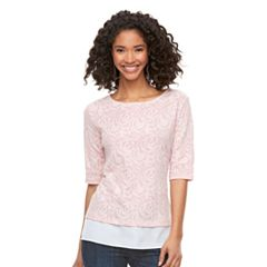 Women's ELLE™ Jacquard Mock-Layer Top