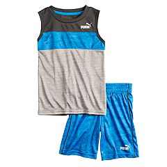 Boys 4-7 PUMA Logo Colorblock Muscle Tee & Shorts Set