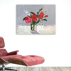 Artissimo Designs Rose On Gray Canvas Wall Art