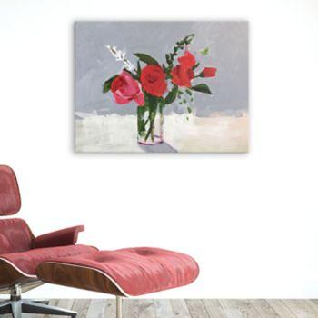 Artissimo Designs Rose On Gray Canvas Wall Art