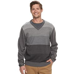 Men's Haggar Regular-Fit Colorblock Herringbone V-Neck Sweater