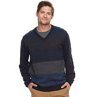 Men's Haggar Regular-Fit Colorblock Herringbone V-Neck Sweater
