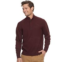 Men's Haggar Regular-Fit Suede-Trim Stretch Quarter-Zip Sweater