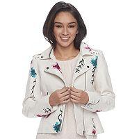 Juniors' Candie's® Floral Moto Jacket