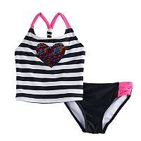Girls 4-16 SO® Rainbow Flip Sequin Striped Tankini Top & Bottoms Swimsuit Set