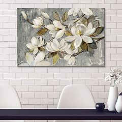 Artissimo Designs Magnolia Simplicity Neutral Gray Canvas Wall Art