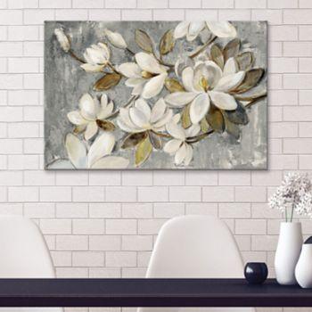 Artissimo Designs Magnolia Simplicity Neutral Gray Canvas Wall Art