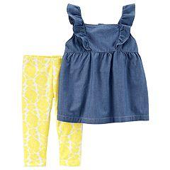 Baby Girl Carter's Chambray Tank Top & Floral Capri Leggings Set