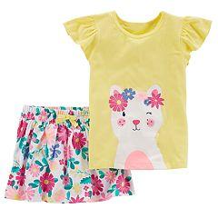 Baby Girl Carter's Cat Tee & Floral Skirt Set