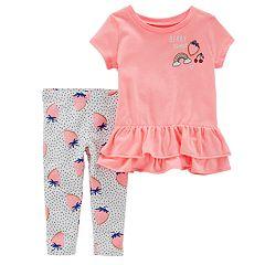 Baby Girl Carter's Graphic Ruffle Top & Strawberry Leggings Set