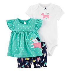 Baby Girl Carter's Polka-Dot Top, Graphic Bodysuit & Dog-Print Shorts Set