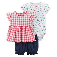 Baby Girl Carter's Floral Bodysuit, Gingham Top & Bubble Shorts Set