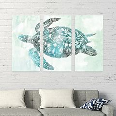 Artissimo Designs Soft Aqua Sea Turtle Canvas Wall Art 3-piece Set