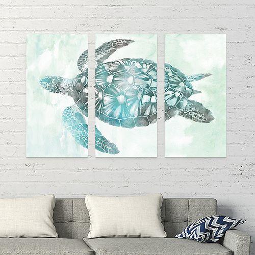 Artissimo Designs Soft Aqua Sea Turtle Canvas Wall Art 3 Piece Set