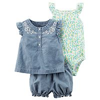 Baby Girl Carter's Floral Bodysuit, Chambray Top & Shorts Set