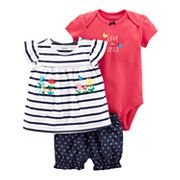 Baby Girl Carter's 'Love to Smile' Graphic Bodysuit, Striped Tee & Polka-Dot Shorts Set