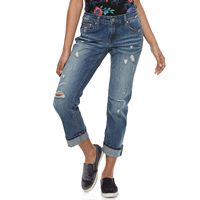 Juniors' Unionbay Tawny Distressed Cuffed Ankle Jeans
