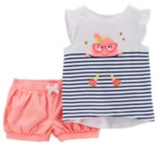 Baby Girl Carter's Monster Striped Tee & Bubble Shorts Set