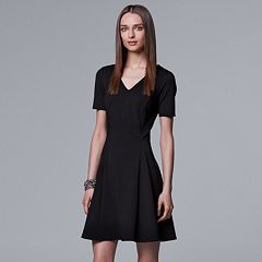 Petite Simply Vera Vera Wang Solid Ponte Fit & Flare Dress