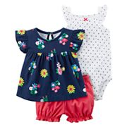 Baby Girl Carter's Floral Tee, Polka-Dot Bodysuit & Bubble Shorts Set