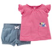 Baby Girl Carter's Striped Pocket Top & Chambray Shorts Set