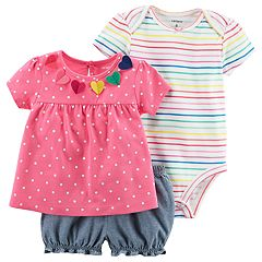 Baby Girl Carter's Striped Bodysuit, Polka-Dot Tee & Chambray Shorts Set