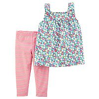 Baby Girl Carter's Floral Tank Top & Striped Leggings Set