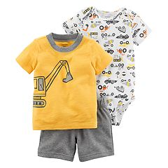 Baby Boy Carter's Construction Bodysuit, Excavator Tee & Short Set