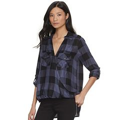 Women's Rock & Republic® Plaid Crossover Shirt