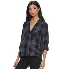 Women's Rock & Republic® Plaid Grommet Crossover Shirt